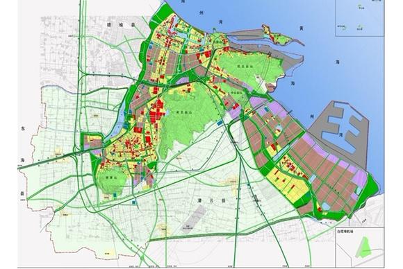 规划院为连云港设计的连云港总体规划图.从连云港连云新城到高清图片