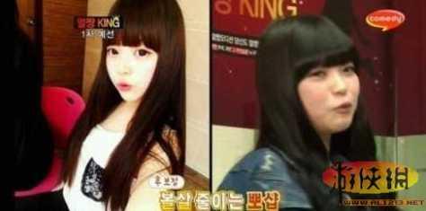 韩国网络美女素颜照对比