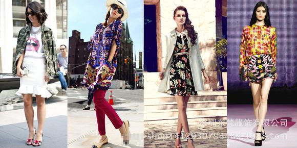而大花式的花色衣服,最好不再用同系的面布来配,而改用对比色或白色来图片