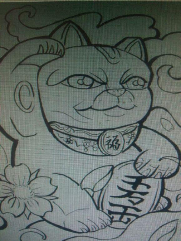 纹身吧那么多就没招财猫手稿吗图片