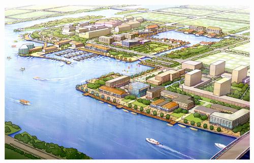 连云港市旅游中心区;连云新城门户区和第二三住区;猴嘴以北的高清图片