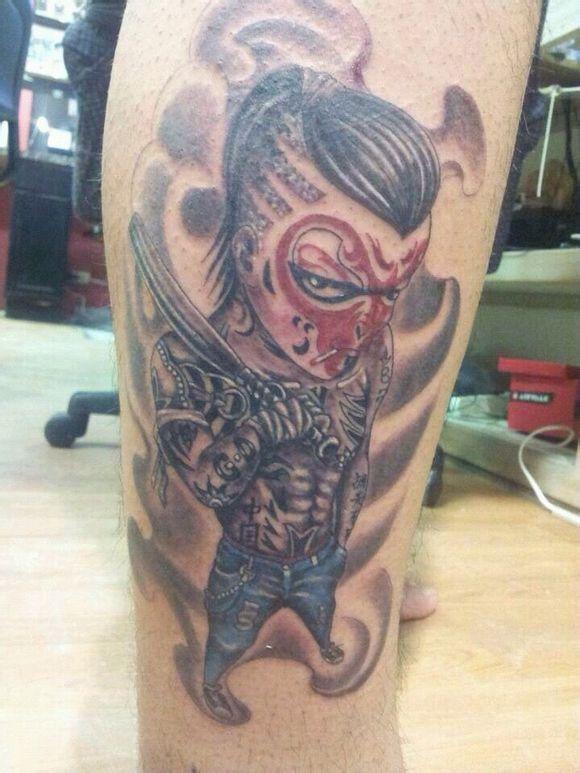想纹个猴子的纹身在小腿上!你们看看怎么样图片