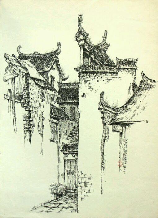 渣手临江南古镇风景速写图片