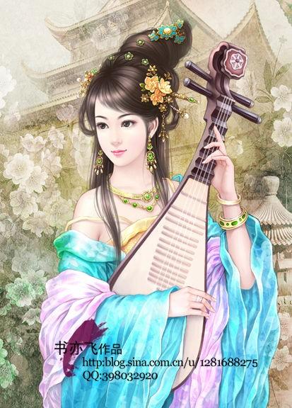 【求图】一张弹琵琶的古装少女图