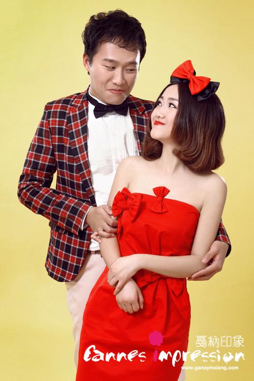 天津婚纱照之短发新娘造型图片