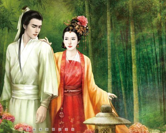 【莲橙】手绘古装男子跟情侣图片