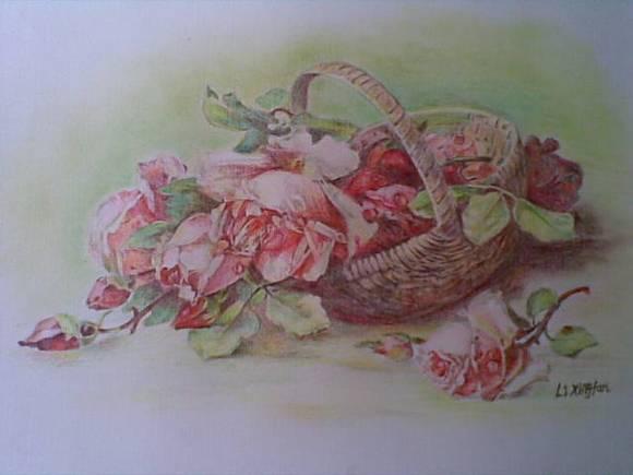 手绘玫瑰花彩铅画图片