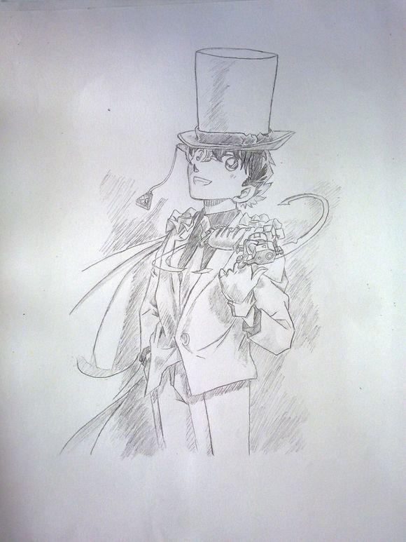 【手绘】魔术快斗~_怪盗基德吧_百度贴吧