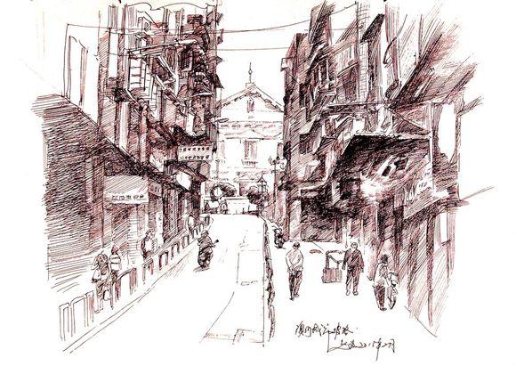 澳门是历史古城,街道十分狭窄图片