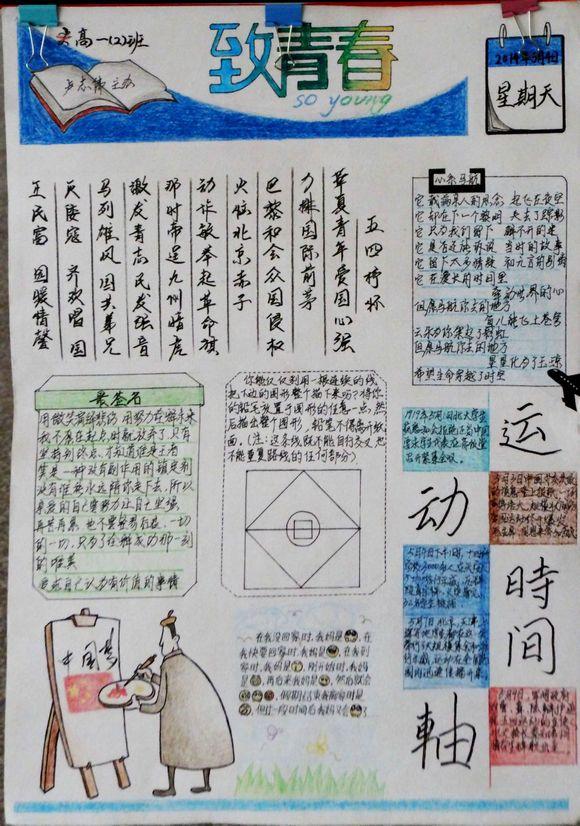 自由五四,精彩青春手抄报.