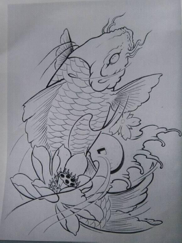 金马纹身 纹个鲤鱼大约多少钱 打线条 胸口图片