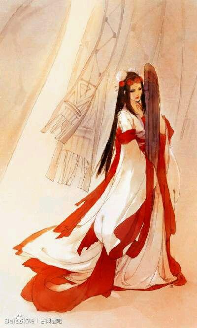 『古风美图』『求图』求各位大大赐白衣女子弹琴图图片