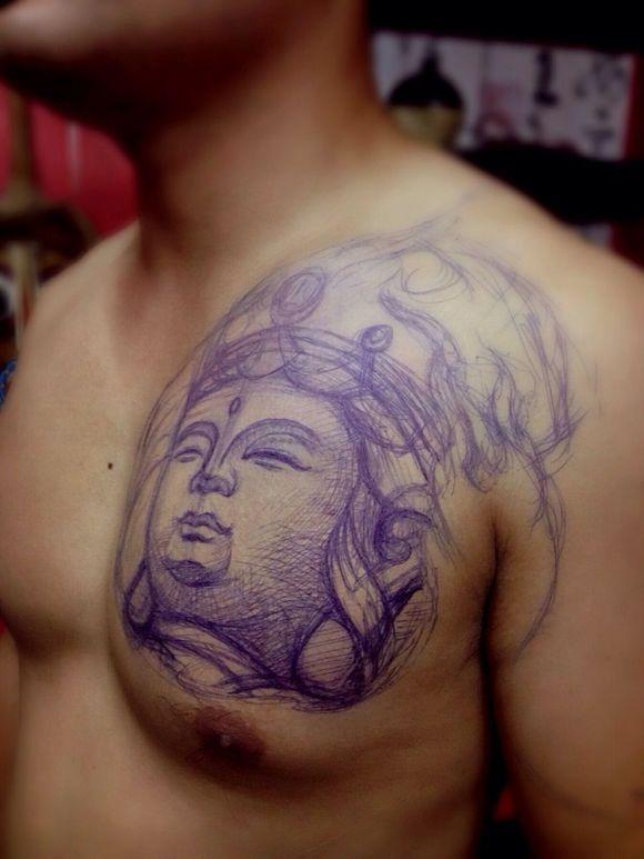 成都黑旗刺青为你解说普贤菩萨纹身图案的   普贤菩萨纹身高清图片