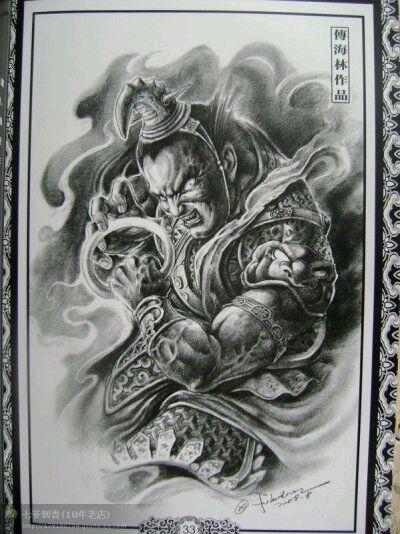 黑色佛与魔半甲纹身手稿下载 佛与魔 纹身手稿 素材图片