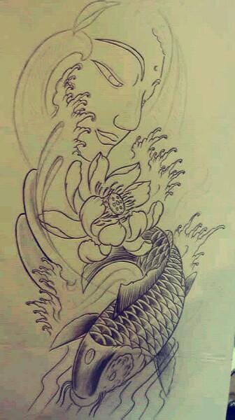 花臂纹身手稿 花臂纹身手稿素材 花臂男神 艺妓花臂纹身手稿