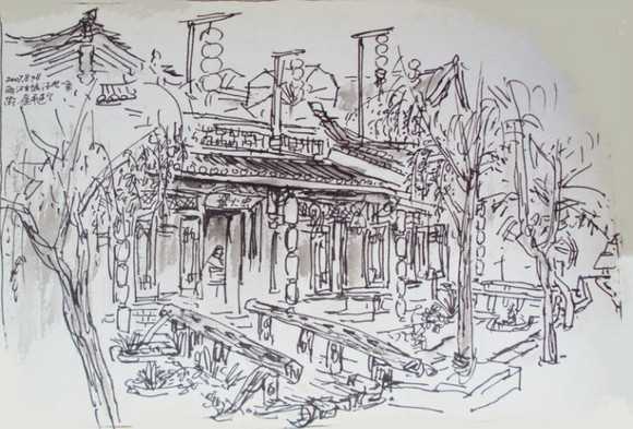画家陈星平的丽江古城速写图片