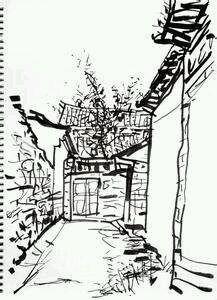 风景素描图(丽江古镇)图片