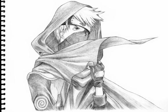 卡卡西素描图 鸣人素描图片 火影忍者素描图片 卡卡西全身素描图片
