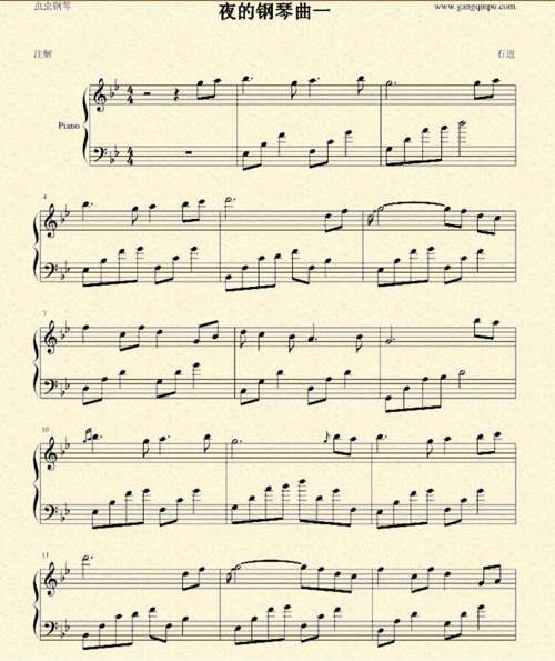 求夜的钢琴曲1,22,23的五线谱图片