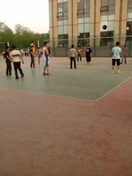体育系的男子排球赛正在比赛中,排球协会正在纳新中, 河北民族师范