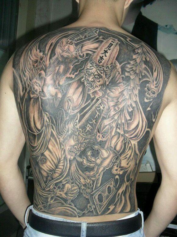 黑白无常纹身手稿图集 纹身半甲黑白无常图片 霸气黑白无常纹身图案图片