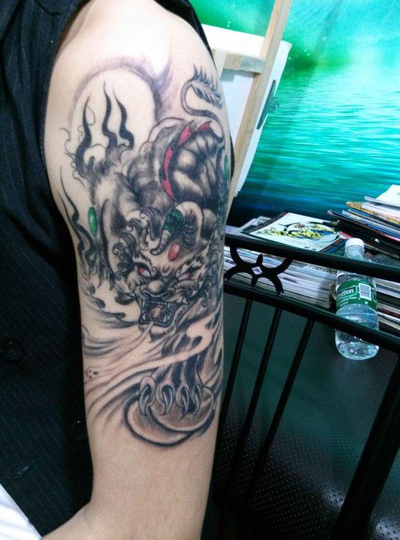 貔貅招财 图片 招财貔貅纹身手稿 招财避邪貔貅纹身高清图片