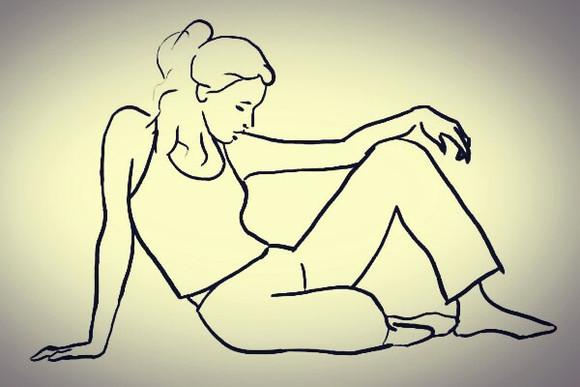 侧坐着的人简笔画