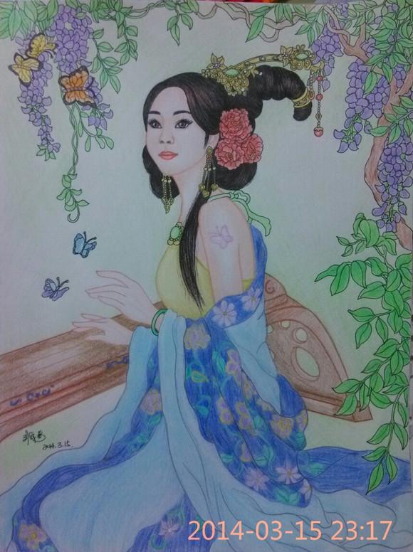 手绘彩铅古装美女