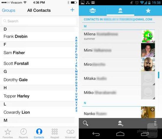 ios7与安卓:拨号界面与联系人列表图片