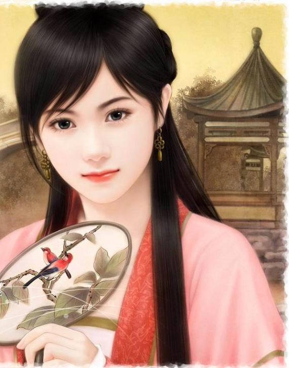 【手绘古装】【求图】扇子遮住面容的妖媚女子