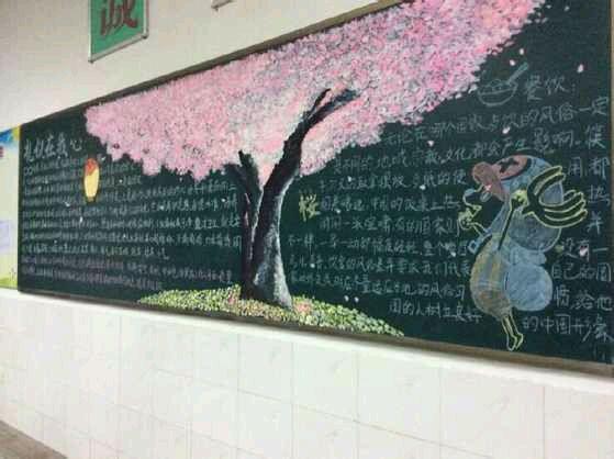 樱花树怎么画?_黑板报吧图片