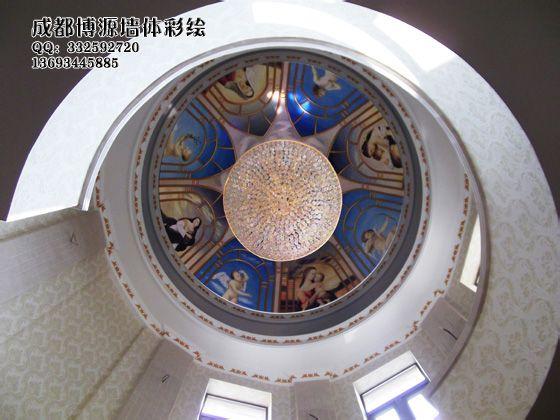 欧式人物油画穹顶墙绘精品图片