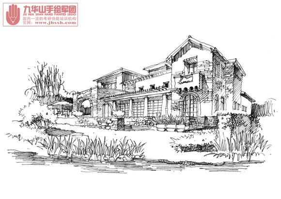 别墅建筑钢笔画照片写生图片