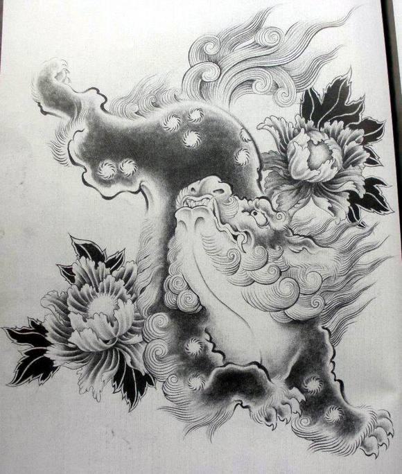 转载分享古代神兽唐狮子手稿图片