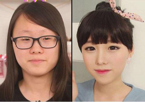 韩国网络美女化妆前后对比恐怖