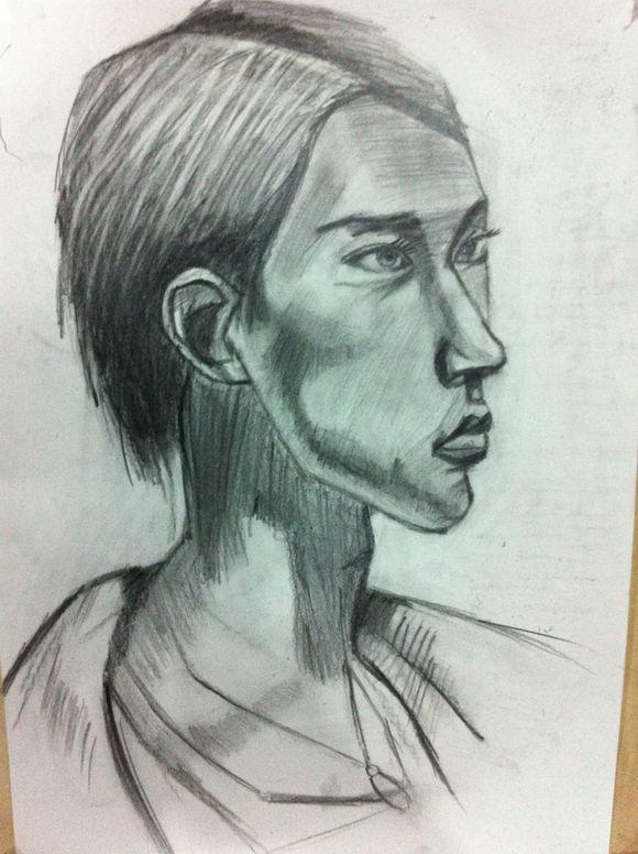 联考素描人头像图片