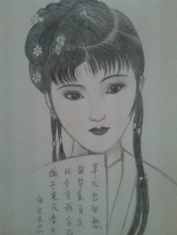 古装贴图 *【手绘】我画的古装美女《素描彩铅都有