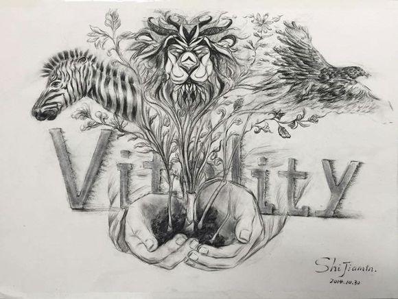 昨天的课堂作业:创意素描图片