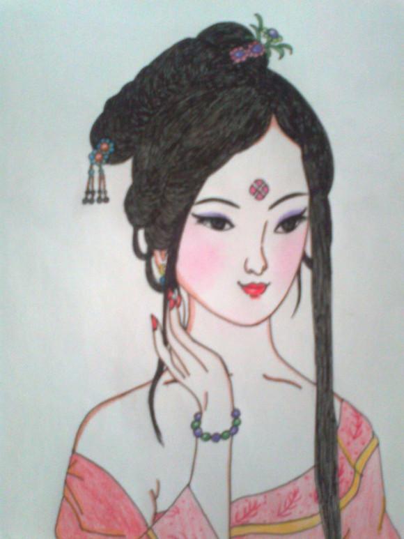 古装贴图 *【 铅笔画 】彩铅 古装 美女-古装女生铅笔画