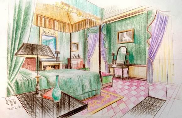 发几张手绘彩铅室内效果图图片