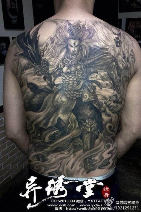 赵子龙或者诸葛亮满背纹身稿图片