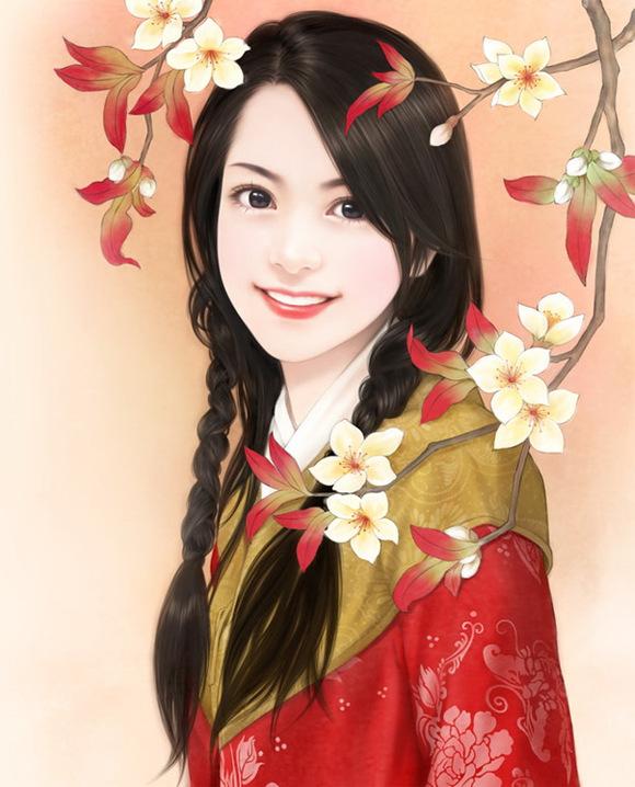 【寻图】红衣手绘美女图 古装手绘美女图片吧
