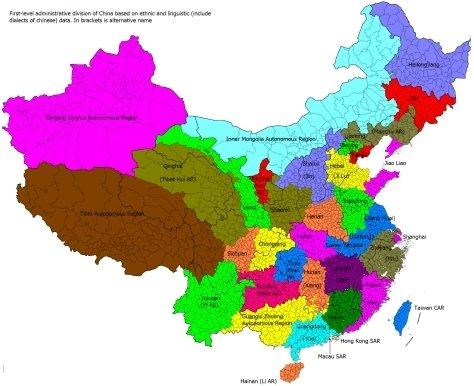维基百科上基于语言划分的中国省份行政划分图片