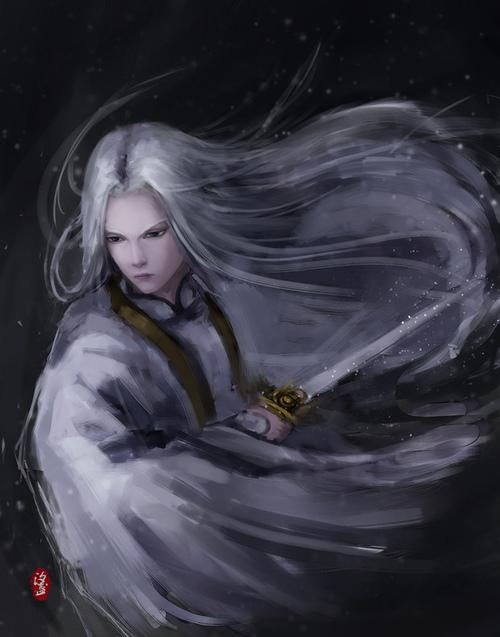 银白色的头发和白色衣装图片