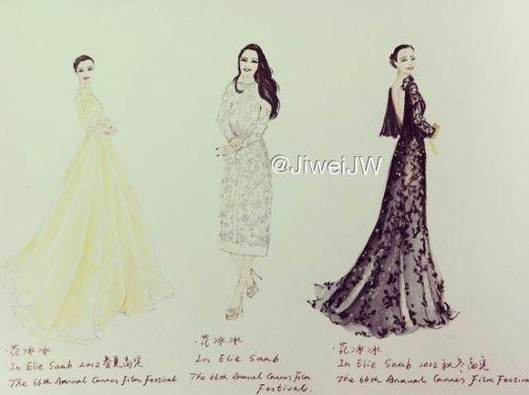 『女生』手绘晚礼服设计图