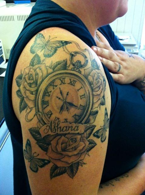 个性后背部时钟钟表纹身第5页图片