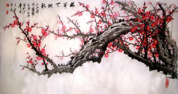 回复:画梅花的女人●廖又蓉 国画写意梅花一组图片