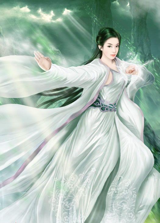 手绘古装蓝发 白衣女子   白衣古装手绘女子   手绘古代