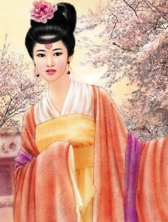 古代女子服饰手绘图图片