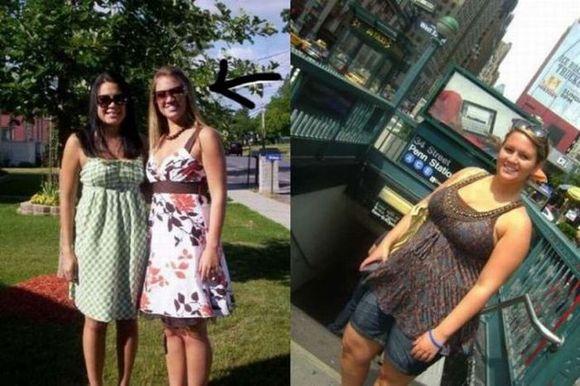 美女变胖的前后对比